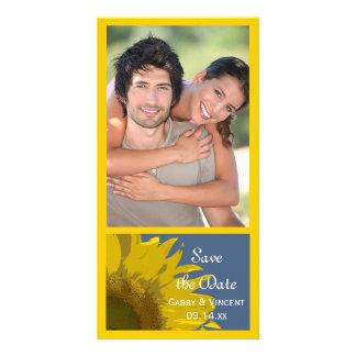 Reserva del boda de la impresión del girasol la tarjeta