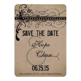 Reserva del boda de papel de Brown la fecha Invitación 12,7 X 17,8 Cm