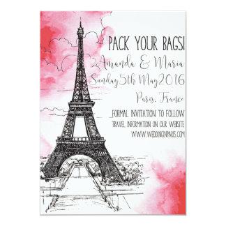 Reserva del boda de París del destino la fecha Invitación 12,7 X 17,8 Cm