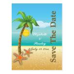 Reserva del boda de playa de la palmera y de las e tarjeta postal