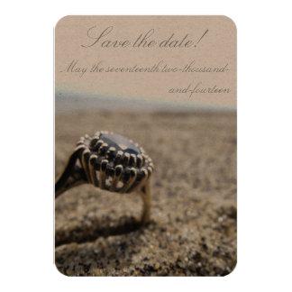 Reserva del boda de playa del vintage la fecha invitación 8,9 x 12,7 cm