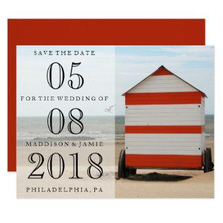 Reserva del boda de playa la fecha invitación 10,8 x 13,9 cm