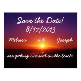 Reserva del boda de playa la fecha postal