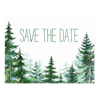 Reserva del boda del árbol de abeto la fecha postal