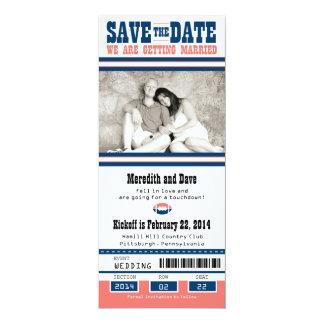 Reserva del boda del boleto del fútbol la fecha invitación 10,1 x 23,5 cm