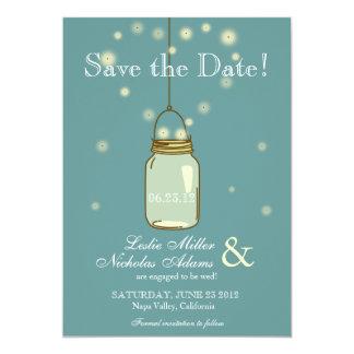 Reserva del boda del corazón de las luciérnagas invitación 12,7 x 17,8 cm