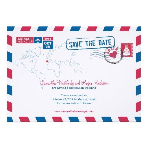 Reserva del boda del correo aéreo de España la fec Invitacion Personalizada