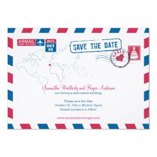 Reserva del boda del correo aéreo de España la Invitación 12,7 X 17,8 Cm