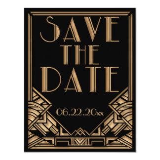 Reserva del boda del estilo de Gatsby del art déco Invitación 10,8 X 13,9 Cm