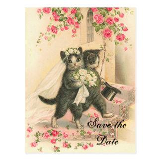 Reserva del boda del gatito del Victorian la fecha Postal