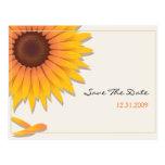 Reserva del boda del girasol la tarjeta de la invi postales
