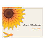 Reserva del boda del girasol la tarjeta de la postal