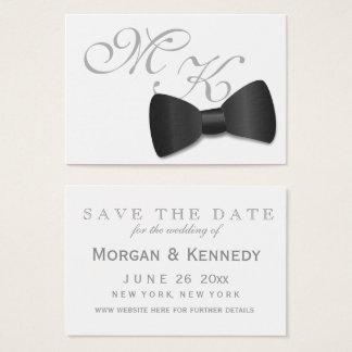 Reserva del boda del lazo negro del smoking las tarjeta de negocios