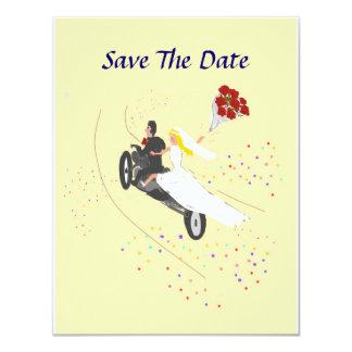Reserva del boda del motorista la fecha invitación 10,8 x 13,9 cm