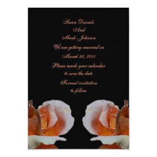 Reserva del boda del negro del capullo de rosa del invitación 12,7 x 17,8 cm