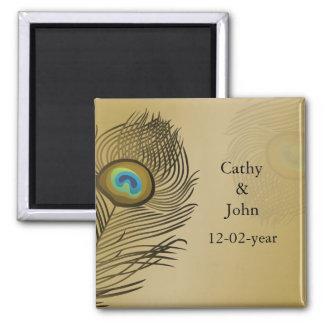 reserva del boda del pavo real del oro la fecha imanes para frigoríficos