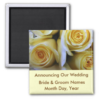 Reserva del boda del rosa amarillo el imán de la f