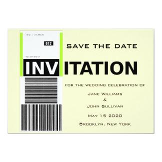 Reserva del boda del tema de la demanda de invitación 12,7 x 17,8 cm