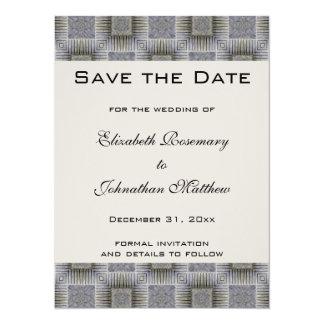 Reserva del boda del vintage la fecha, cuadrados invitación 13,9 x 19,0 cm