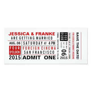 Reserva del boleto del vintage la fecha o la invitación 10,1 x 23,5 cm