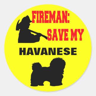 Reserva del bombero mi Havanese Pegatina Redonda