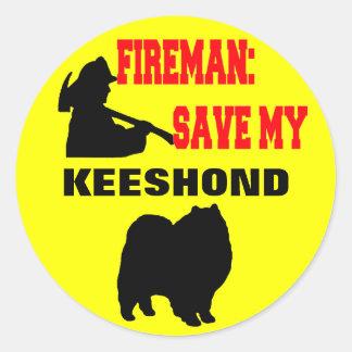 Reserva del bombero mi Keeshond Pegatina Redonda