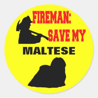 Reserva del bombero mi maltés pegatina redonda