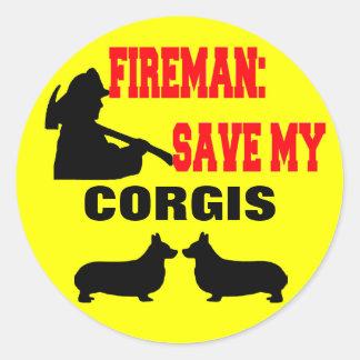 Reserva del bombero mis Corgis Pegatina Redonda