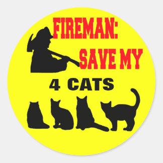 Reserva del bombero mis cuatro gatos pegatina redonda