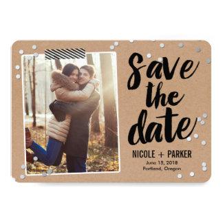 Reserva del confeti la tarjeta de fecha invitación 12,7 x 17,8 cm