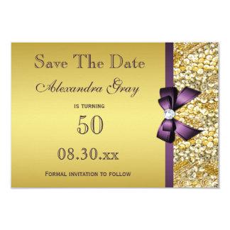Reserva del cumpleaños el arco púrpura de la falsa invitación 8,9 x 12,7 cm