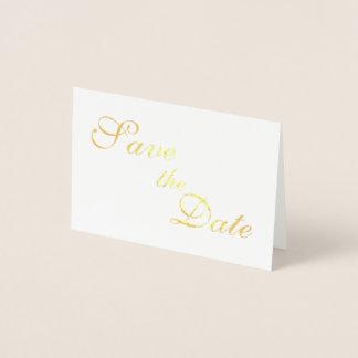 Reserva del efecto metalizado de oro las fechas tarjeta con relieve metalizado