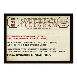 Reserva del estilo del telegrama del vintage la invitación 11,4 x 15,8 cm