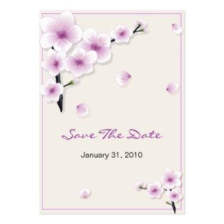 Reserva del flor de la primavera la fecha que casa tarjetas de visita grandes