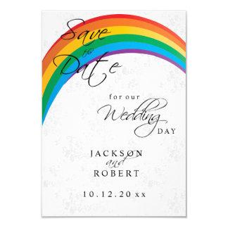 Reserva del gay del arco iris la fecha invitación 8,9 x 12,7 cm