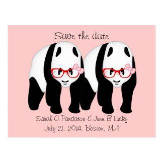 Reserva del gay la fecha, dos pandas masculinas tarjetas postales