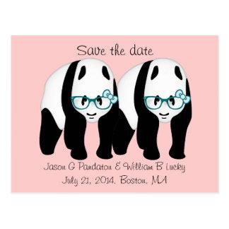Reserva del gay la fecha, dos pandas masculinas postales