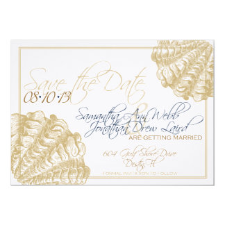 Reserva del lino el boda de playa de la fecha invitación 12,7 x 17,8 cm