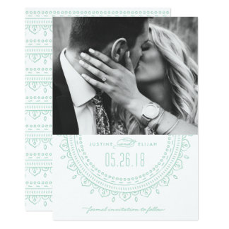 Reserva del medallón la tarjeta de fecha - menta invitación 12,7 x 17,8 cm