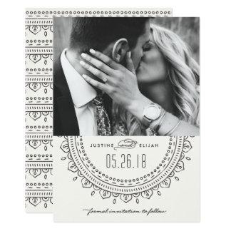 Reserva del medallón la tarjeta de fecha - pizarra invitación 12,7 x 17,8 cm