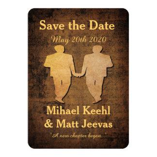 Reserva del muchacho el boda gay de la tarjeta de invitación 11,4 x 15,8 cm