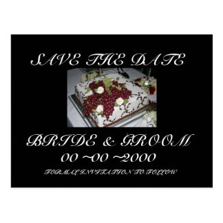Reserva del pastel de bodas la fecha postal