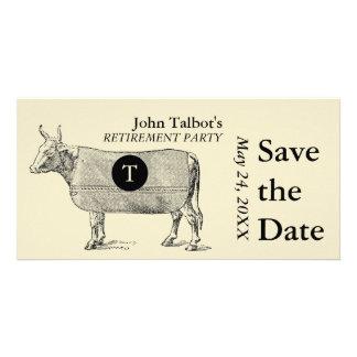 Reserva del retiro de la vaca del vintage el tarjeta personal con foto