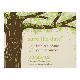 Reserva del roble la tarjeta de fecha invitación 10,8 x 13,9 cm