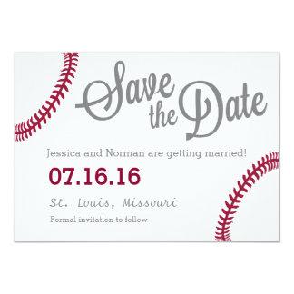 Reserva del tema del béisbol la fecha invitación 12,7 x 17,8 cm