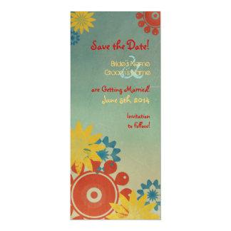 Reserva del vintage de las flores del Hippie la Invitación 10,1 X 23,5 Cm