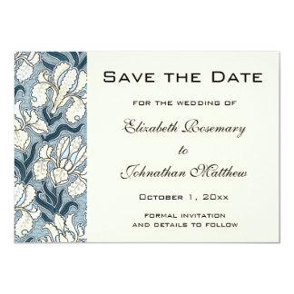 Reserva del vintage la fecha, flores del iris de invitación 11,4 x 15,8 cm