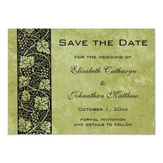 Reserva del vintage la fecha, hojas de la vid de invitación 11,4 x 15,8 cm