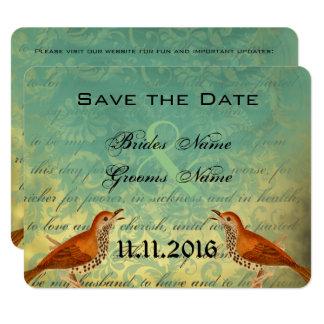 Reserva del voto de boda de los pájaros del invitación 10,8 x 13,9 cm