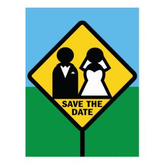 Reserva divertida de la muestra del icono del boda postal